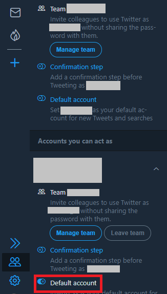 TweetDeckのデフォルトアカウントを変更する手順